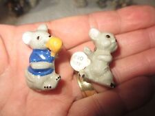 "2 Vintage BEACHSTONE Ceramic "" MOUSE MICE ""  Pin BROOCH  ~ FREE SHIPPING!  dd"