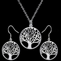 Pretty Tree of Life Charm Round Necklace Pendant&Earring 925 Silver Plated Gift