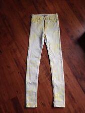 Topshop Jamie Yellow / Lemon Tye Dye Skinny Jeans W25 L32 Sz 6