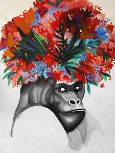 Grumpy Gorilla Monkey Ape Street Art Graffiti Painting  Print Canvas Flower Head
