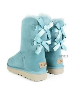 UGG Bailey Bow II Succulent Blue Suede Fur Boots Womens Size 7 *NIB*