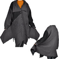 Maxi Lagenlook Winter Mantel Wolle Jacke Boho Trench zipfelig 52 54 56 XL XXL