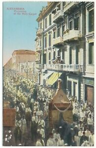 Alexandria Egypt Religious Procession of the Holy Carpet Alexandrie Postcard