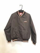 U-Haul Truck Trailer Rental Worker Jacket size M Brown Striped Letterman Jacket