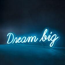 """Azul LED Luz de Neón """"Dream Big"""" de pared de luz interior 4,5V Enchufe Lámpara _ luces 4fun"""