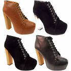NEW WOMENS LADIES LACE UP PLATFORM HIGH WOODEN BLOCK HEEL ANKLE SHOES BOOTS SIZE