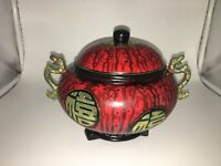 Decorative Replica Painted Asian Pot with Dragon Handles with Lid