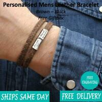 Budapest Brown Leather & Stainless Steel Mens Personalised Engraved Bracelet