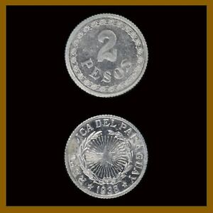 Paraguay 2 Pesos Coin, 1938 KM# 17 Star Unc