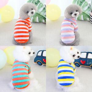 Pet Dog Clothes Rainbow Fleece Stripe Shirt Fashion Cute Puppy Short Sleeve Vest