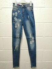 Ladies Super Skinny Jeans | Blue | Patch Ripped | HOXTON | Size 10