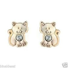 Kids Girls 9ct Gold Andralok Tiny Small Kitten Crystal Studs Earrings B'day GIFT