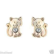 Kids Girls 9ct Gold Tiny Small Kitten CAT Crystal Studs Earrings B'day GIFT BOX