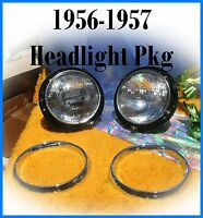 Corvette 1956 1957 Headlight Buckets w Brackets Chrome Headlight Trim Rings Set