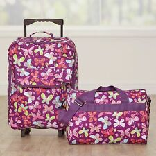 Butterfly Luggage Set for Girls - Rolling Bag, Tote with Shoulder Strap - 2 Pc.