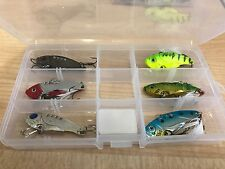 6 X Switchblade metal VIBE lures in tackle tray 55mm
