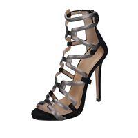 scarpe donna MARC ELLIS sandali nero pelle grigio camoscio BP36