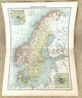 Antique Map of Sweden Norway Christiania Stockholm Gotland Jutland 19thC 1893