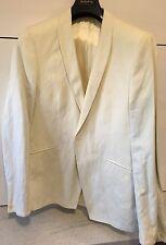 """Holland Esquire Men's Designer White Jacket 42"""" Cotton Steel Shawl Collar Cream"""