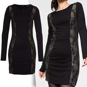 wow Stretch Minikleid Kleid Gr.42/44 Jerseykleid SCHWARZ GOLD Kleines Schwarzes