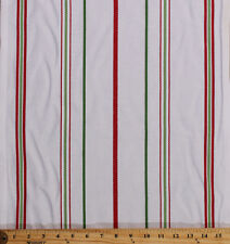 """Cotton Toweling 15.5"""" White Red Green Striped Kitchen Towels By the Yard M221.08"""