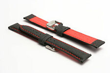 Men's Hadley-Roma 18mm Sailcloth Everyday Carry Watch Strap - Red (stiff) MS744