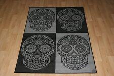 Quality Black Grey Skull Rug 120cm x 170cm Skull Cross-Bone Print Twist Rug