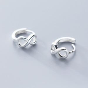 Unendlichkeit Klein Klapp Creolen Kreolen - 925 Silber Ohrringe Ohrstecker A1553