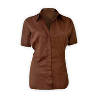 Womens Ladies Short Sleeve Button-Down Shirt Cotton-Rich Collared Casual Top
