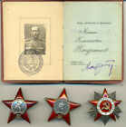 Soviet Russian USSR Documented Group with rare 3-riveted Red Star