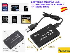 Mini Lector de Tarjetas de Memoria USB Color Negro XD-SD-MMC-CF-SDHC-TF-Micro SD