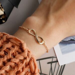 Bohemia Lady Women Stylish Punk Metal Infinity Sign Hand Chain Bangle Bracelet