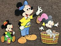 Vintage Walt Disney Productions Wall Decor Cutouts Mickey Mouse Minnie Kids