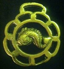 FISH WINDOW FRAME Vintage Horse Harness Brass England  NAUTICAL! WOW YOUR WALLS!