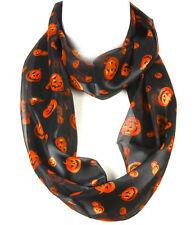 "Infinity Circle Halloween Pumpkins Fashion Scarf  20""X 70""   Blk/Orange"