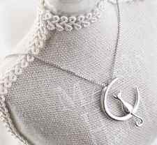 925 Silver Plated Lovely Moon Cat Kitten All_match Pendant Necklace Birthday