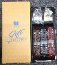 AVON*FASHION FOR HIM LEATHER BELT SET*3 TEXTURE LEATHER STRAPS, 2BELT BUCKLES