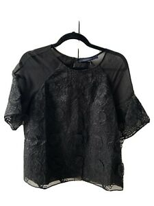 Black French Connection Top 10 Floral 3D Embroidered lace Silk