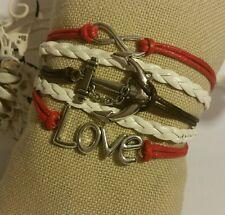 Surfer Leather Bracelet Cute Infinity Charm Fashion Jewelry Silver US