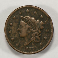 1837 1c Coronet Head Large Cent - Mid-Grade Details - SKU-Y2553