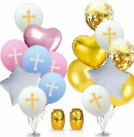 1Set Cross Latex Balloon Aluminium Foil Easter Holy Communion Party Decor 6+2+1