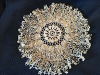 "Vintage Hand Crocheted White Doily 11""."