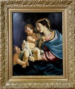 quadro dipinto a olio religioso ritratto madonna con bambino in stile antico 900