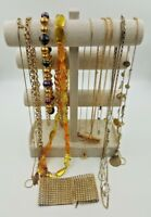 Fashion Jewelry Lot Of 13 Womens Gold Tone Necklaces  + 1 Choker Accessories