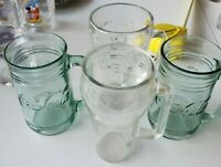 4 Coca Cola Coke Vintage Mugs. 2 Green Glass Drink Mugs 2 Clear Collectible