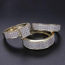 1.28 Ct 3-Ring Bridal 10K Solid Gold Engagement Wedding Band Bride Groom Set