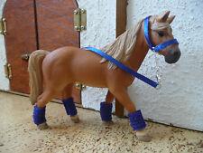 4  x Halfter mit Bandagen für Schleich Pferde blau rot lila grün