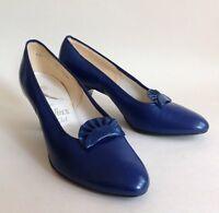 Hi Jinx 1960s Vintage Royal Blue Leather Tab Front Court Shoe UK 3.5 Rockabilly