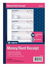 Adams dinero y alquiler libro de recibos 3Part carbono blanco/canario/rosa