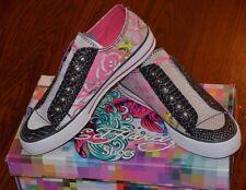 ED HARDY LR Glitter Shoes SZ U.S. 5 EUR 36 Women's Pink Gray Black Sneakers NIB!